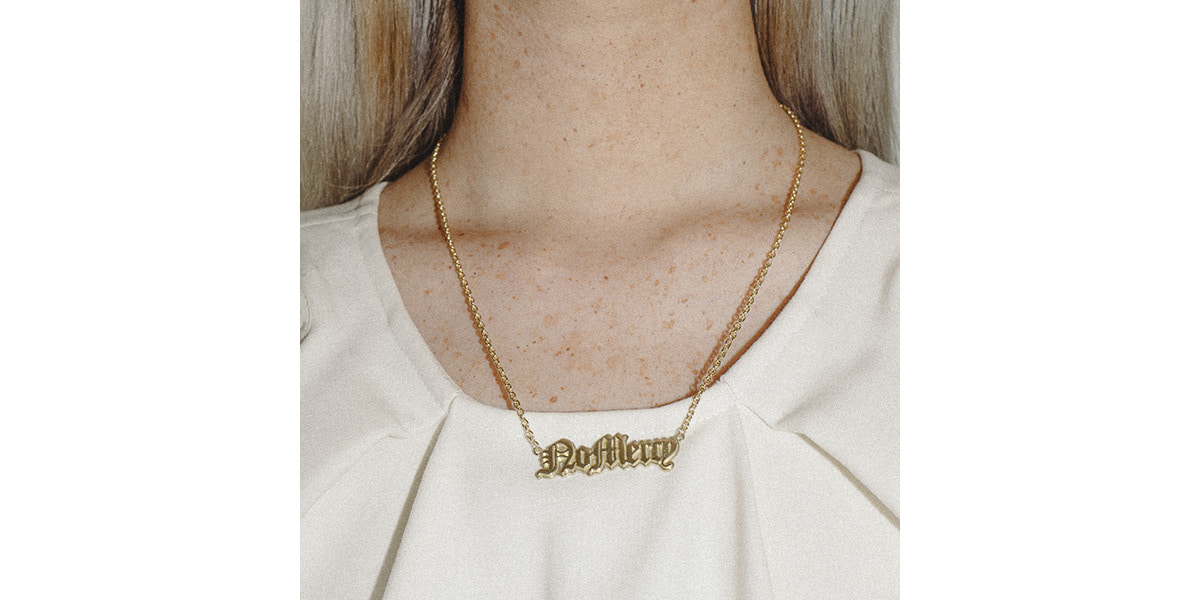 Gold Lettering Necklace (no mercy)